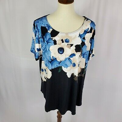 Alfani womens top plus size 2X black blue floral short sleeves new rayon