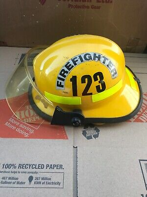 Vintage Cairns & Brother Metro Fire Fighter Helmet w/ Shield 660C # 123 Yellow