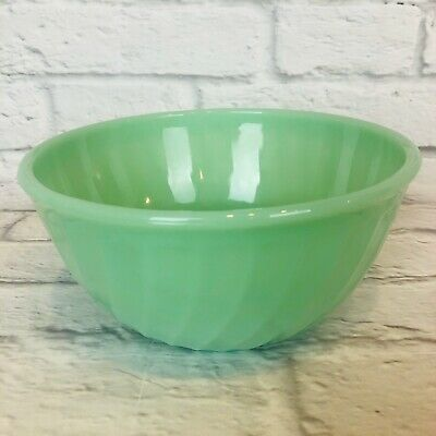 """Vintage Fire King Jadeite Swirl Green 8"""" Mixing Bowl Oven Ware L20"""