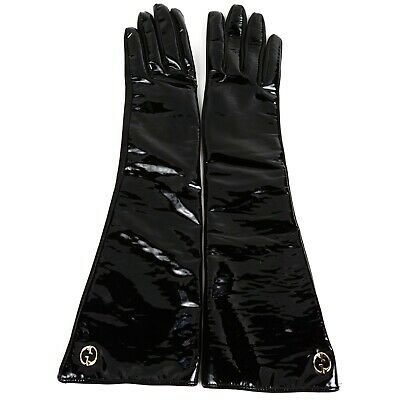 Gucci - Long Driving Gloves - GG Logo - Black Patent & Leather - Size 7