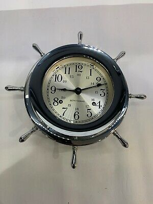 Seth Thomas Ship Wheel Nautical Clock Helmsman E537-001 Working