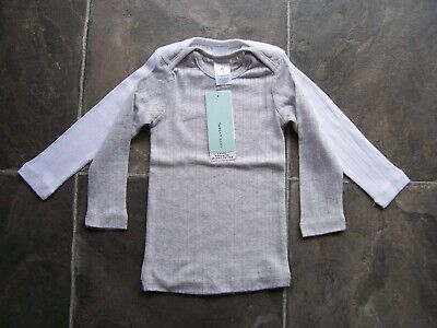 BNWT Boy's 2 Pack Grey & White Thermal Long Sleeve Spencer/Singlet Size 1 & 2
