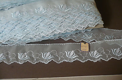 Vintage Swiss Embroidered Organza Lace Trim. 5cms. x 5 Metres Pale Blue