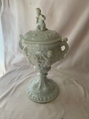 Vintage Campodemonti Style Lidded White Urn Cherubs With Fruit