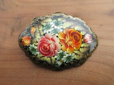 Vintage wood hand painted floral Russian pin elegant brooch signed