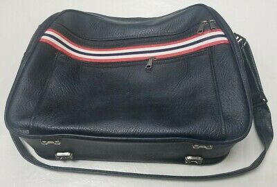Ventura Black Shoulder Tote Bag Retro Striped w Luggage Tag Vintage