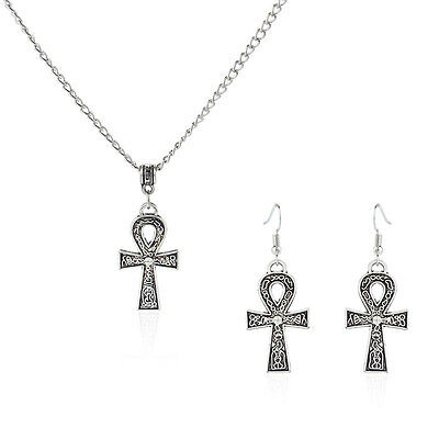 Antique Silver Egyptian Ankh Cross Pendant Earring Necklace Set 18-24'' Jewelry