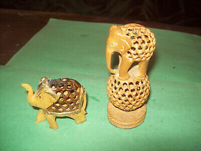 Lot Of Two Hand Carved Wood Elephant Figurines With Baby Inside