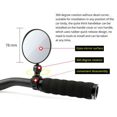 Bike Cycling Handlebar Mirrors Rear View Bicycle Rearview 360 Adjustable