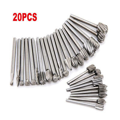 20 x HSS Burr Set Rotary Drill Bits Die Grinder Wood Carving Engraving Tools New