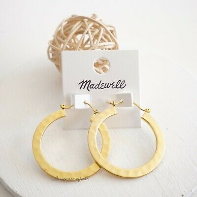 Madewell Hammered Hoop Earrings Gold Plated Brass Silver Posts NWT