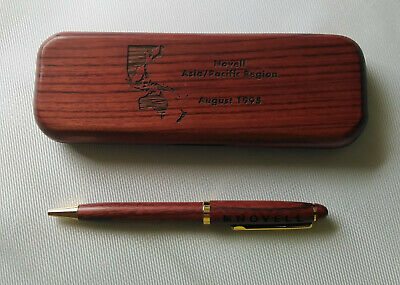 Rare Novell Asia Pacific Region Wooden Pen in Wooden Box 1995 - Still Works.