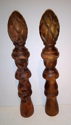 Antique Hand Carved Pine Cone Pineapple Finial Pair Architectural Wooden Rod VTG