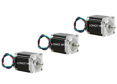 3PC NEMA23 Stepper Motor 5A 1.8V 1.25N.M 76mm 4-leads Flat Shaft CNC machine