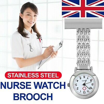 Stainless Steel Nurses Watch Metal Pin Brooch Clip Quartz Pocket Tunic Fob Watch