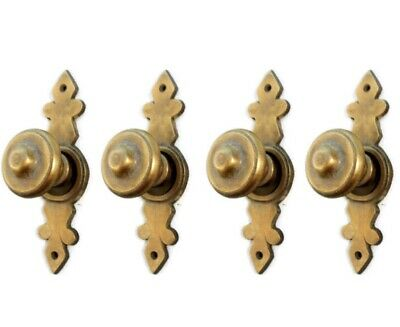 "4 pulls handles solid brass door vintage old style knobs kitchen heavy 3"" aged"