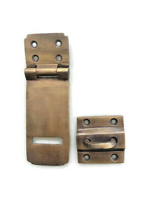 box catch hasp latch vintage style house aged brass DOOR heavy rectangle 11 cm