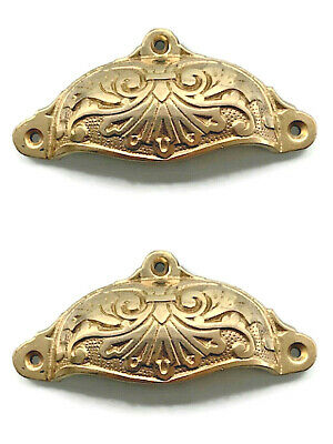 2 engraved cast shell shape pulls handles solid brass vintage POLISHED drawer