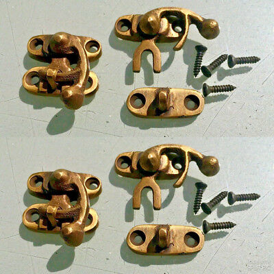 4 Nice tiny small box Latch catch solid brass furniture antiques doors trinket
