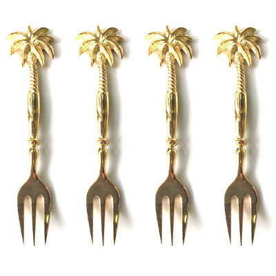 PALM 4 small solid brass serving fork 14cm brass polished FORKS HANDLES 5.1/2""