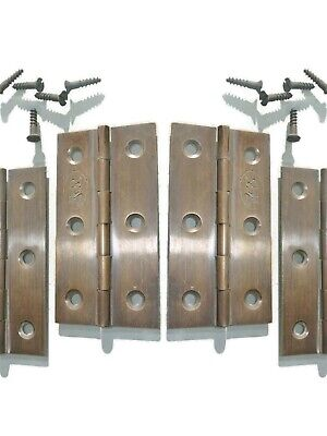 "4 small hinges vintage aged style solid Brass DOOR light restoration 3"" screws"