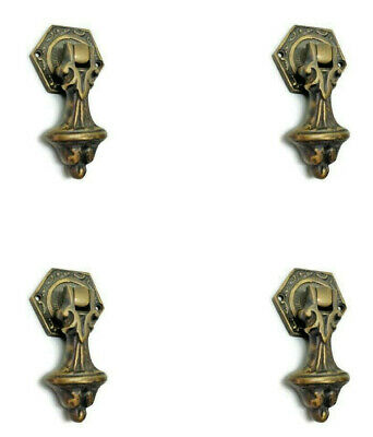 4 small pulls handles solid aged brass door old style drops knobs kitchens aged