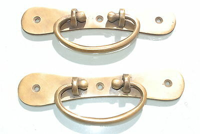 """2 BOX HANDLES drawer vintage aged style solid Brass DOOR very heavy 5.1/2"""" screw"""