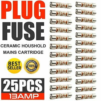25x Domestic Fuses Plug Top Household Mains 13amp Cartridge Fuse 13a