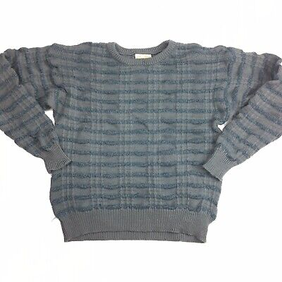 Vintage Cuggi Coogi Pure Wool Blue Grey Jumper Ugly Sweater Size M