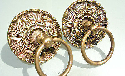 """2 handle ring pull flower solidbrass heavy old vintage asian style DOOR 3.1/2"""""""