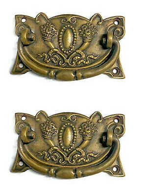 2 heavy DECO handles door brass furniture antiques vintage age old style pulls