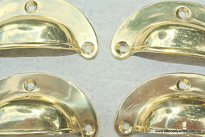 4 small shell shape pulls handles solid brass vintage POLISHED drawer 6.6 mm
