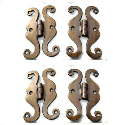 4 small snake hinge old aged style heavy solid Brass kitchens antiques doors 4""