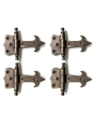 4 small heavy hinges vintage aged solid Brass DOOR heavy cabinets finials box