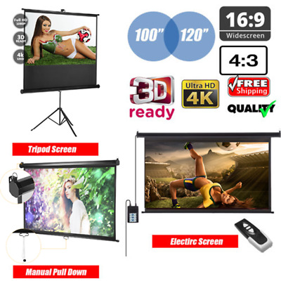 100'' Manual/Electric Tripod Motorised HD 3D 4K Projector Screen Projection RDSA