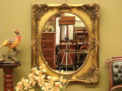 Large Oval Wall / Over Mantle Mirror ~ Aged Gilt Look Frame, Beautiful Detailing