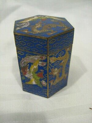 Antique Chinese Cloisonne Trinket Box Bronze Gold Detail Signed