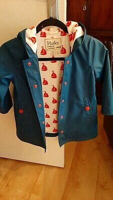 Hatley raincoat girls Blue with anchor lining print