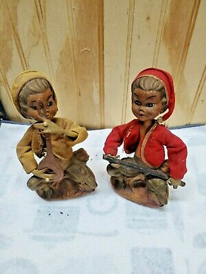 Vintage Two Wooden Musician Figures - Instruments