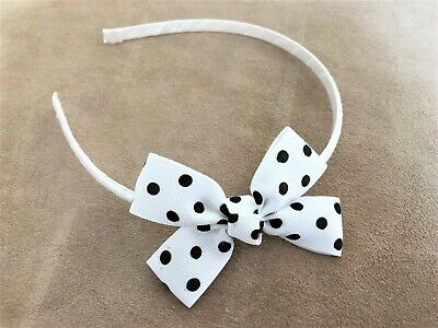Spotty Bow Headband in White and Black with 1cm width satin band