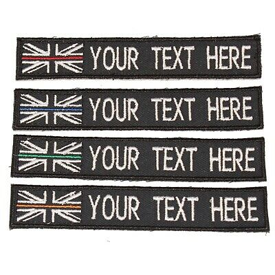Thin Blue Line Embroidered Patch NAME TAPE TEXT TAG UK Badge PC TAC Vests Bag
