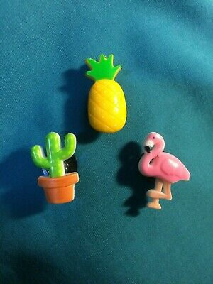 Cute POPULAR Fun TRIO - Pineapple Flamingo Cactus Clog Holey Shoe Charms Charm