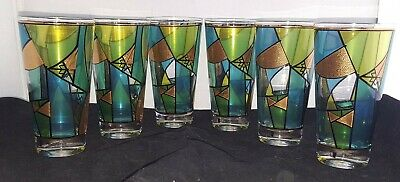 Vintage Retro Ned Harris Set of Six 6 Tall Drinking Glasses Blue Green Gold  MCM