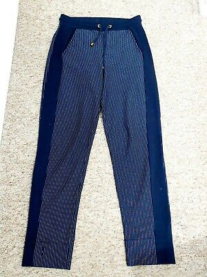 Me + Em Navy Blue White Striped Tailored Joggers tapered Trousers Size 8