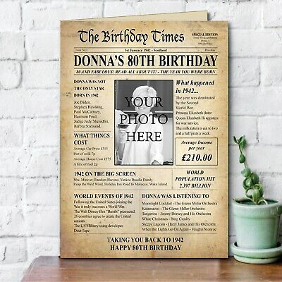 80th Back In 1940 PHOTO Birthday Greeting Card Gift Back In Edition Ago News 151