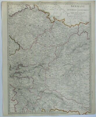 Antique map of Austria, Bohemia and Hungary by SUDK 1832