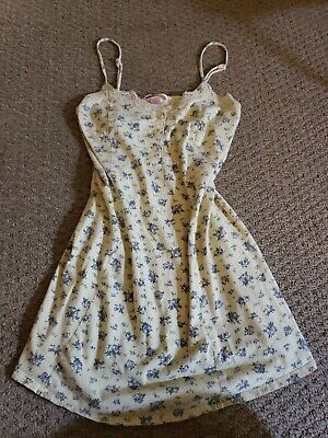 Vintage Victorias Secret 90s Shabby Chic Nighty Camisole Cotton & Lace Floral S