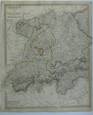 Antique map of Switzerland and South Germany by SUDK 1832