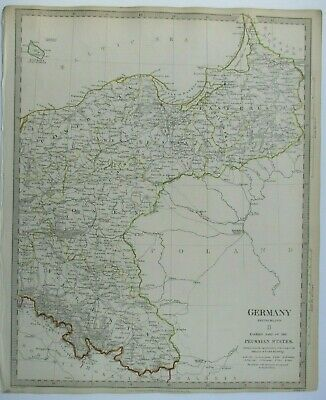 Antique map of Prussia by SUDK 1832
