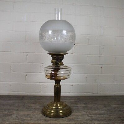 Large Antique 19th Century Brass & Etched Clear Glass Oil Lamp.